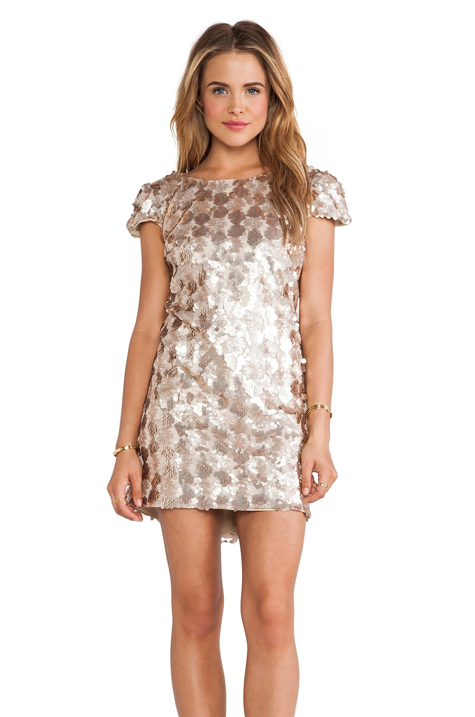 DRESS THE POPULATION Brooke Mini Dress in Champagne
