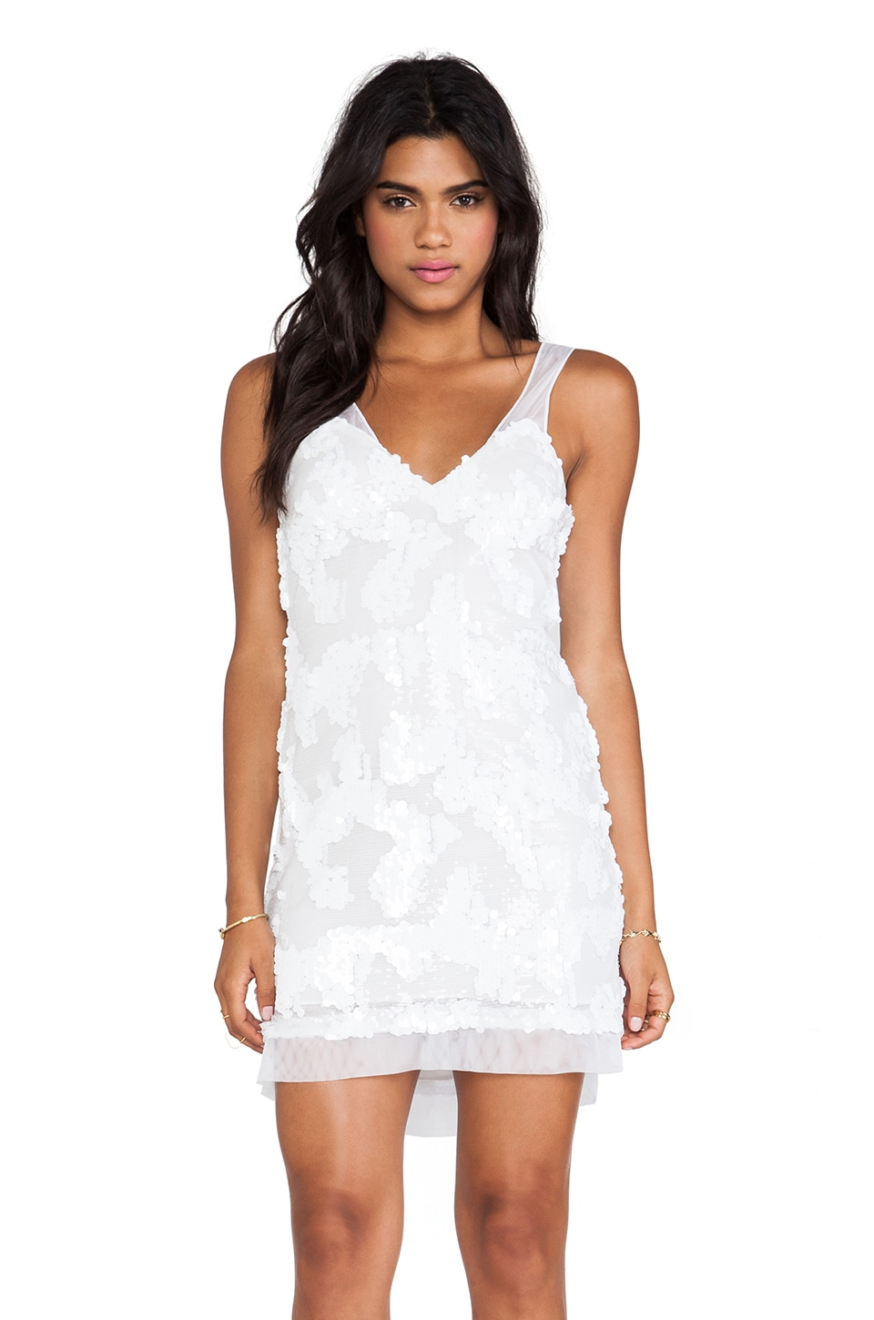 DRESS THE POPULATION Charlotte Mini Dress in White