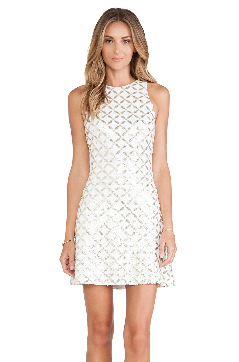 DRESS THE POPULATION Mia Dress in White & Gold Maze