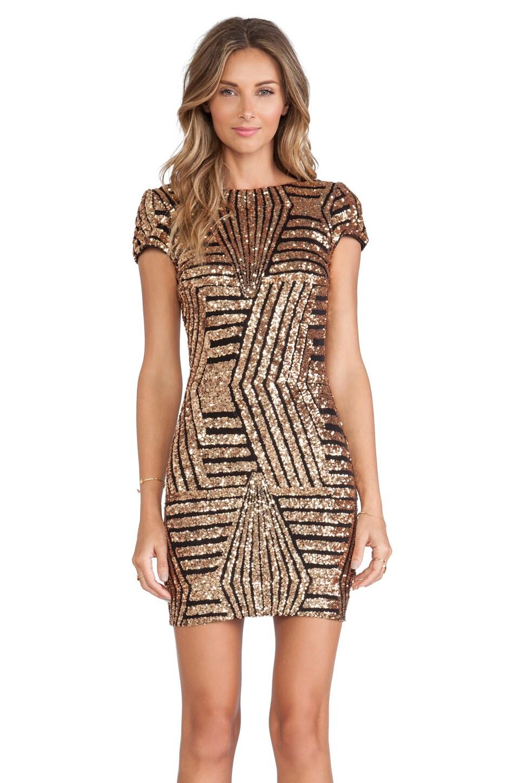 DRESS THE POPULATION Tabitha Dress in Bronze