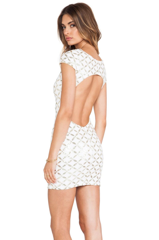 dress the population gabriella dress in white gold maze revolve