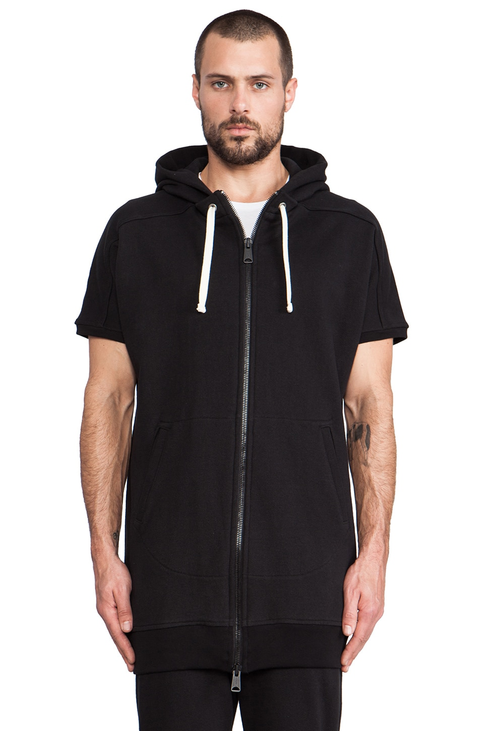 Drifter Magnus Short Sleeve Zip Hoodie in Black