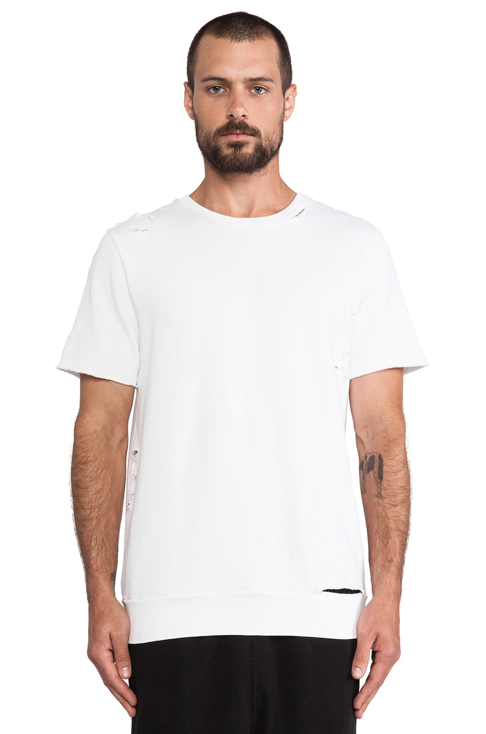 Drifter Ken Short Sleeve Sweatshirt in White