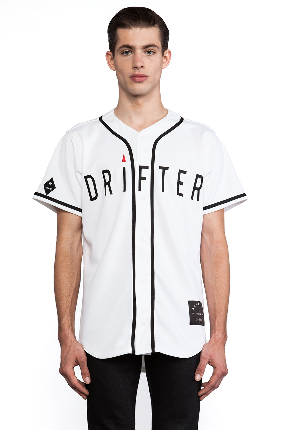 Drifter Diamond Baseball Tee in White