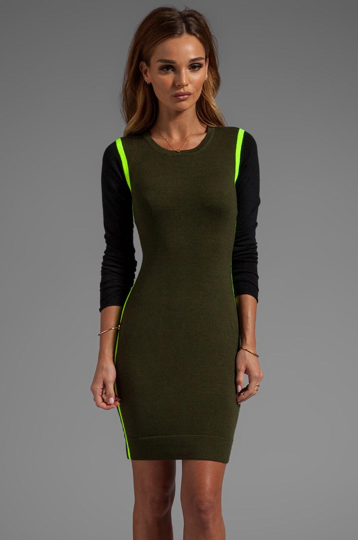 DUFFY 1000 Watt Sweater Dress in Black/Olive/Neon Yellow
