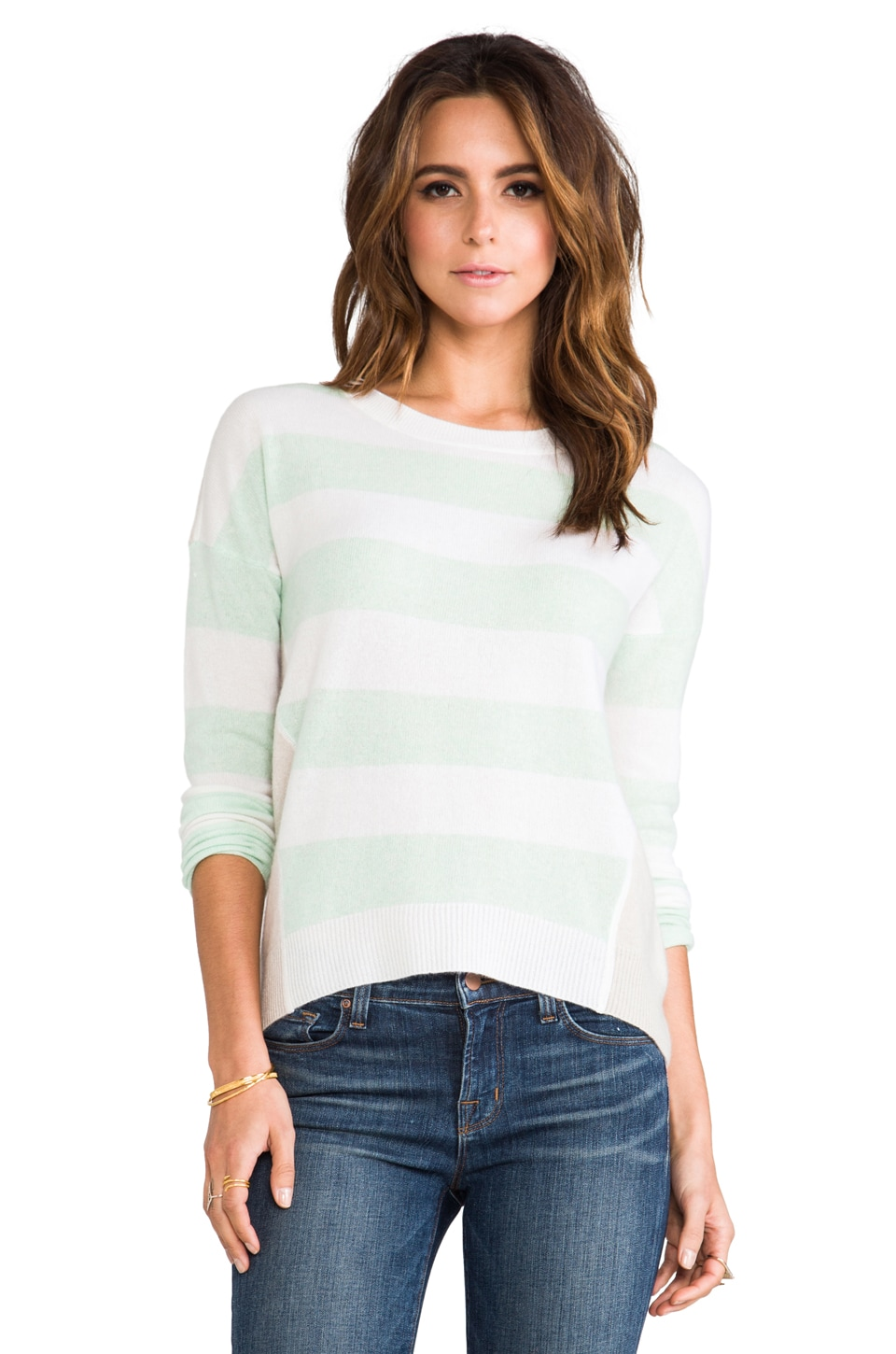 DUFFY Striped Sweater in White/Water Ice/Swansdown