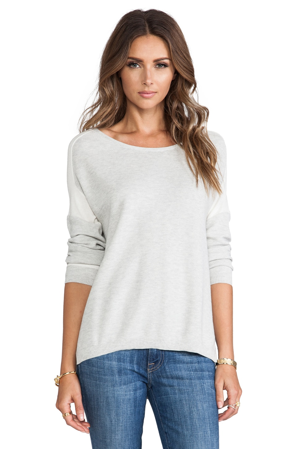 DUFFY Cashmere Blend Pullover in T.Niveous/Off White