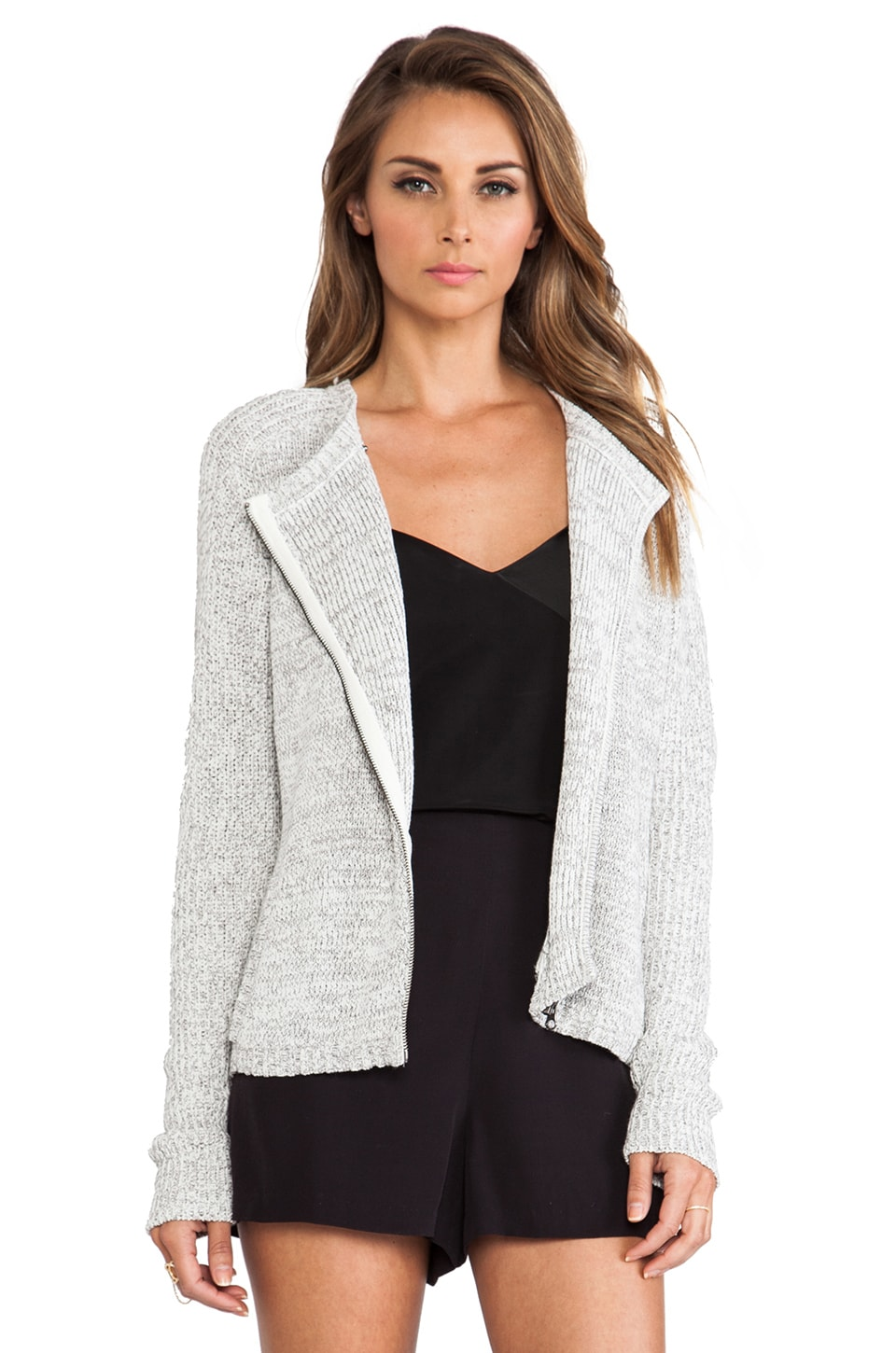 DUFFY Knit Cardigan in White & Summer Grey
