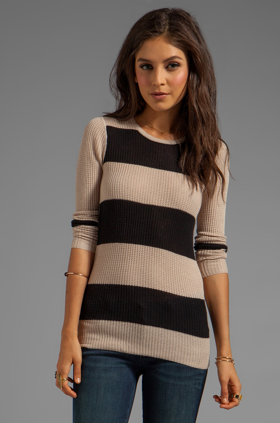 DUFFY Superaire Stripe Sweater in Latte/Black