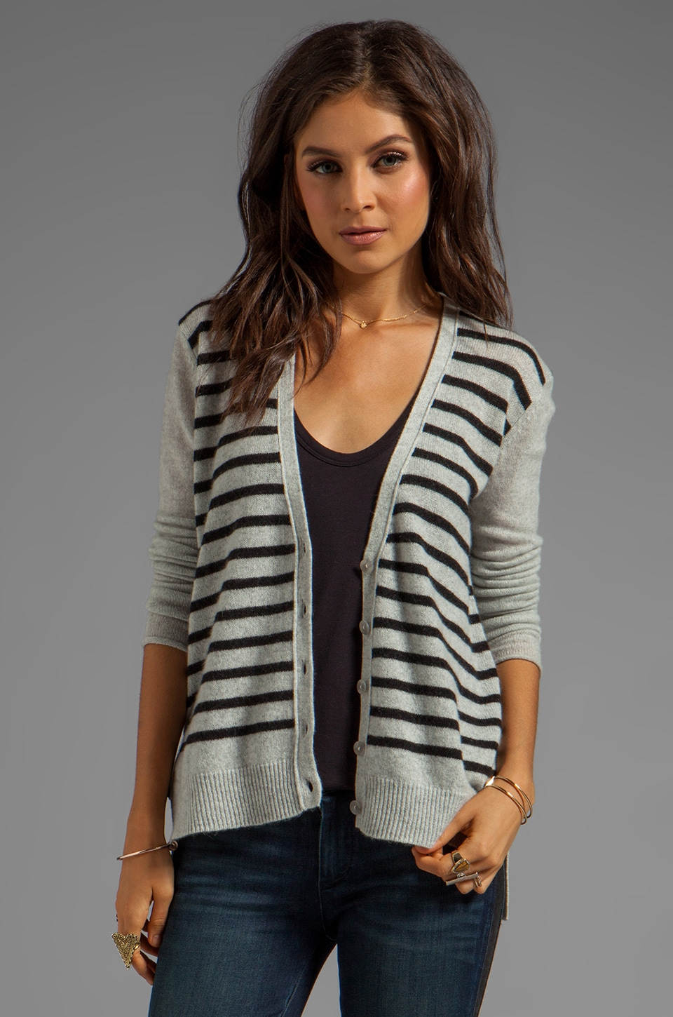 DUFFY Cashmere Cardigan in Silver/Charcoal