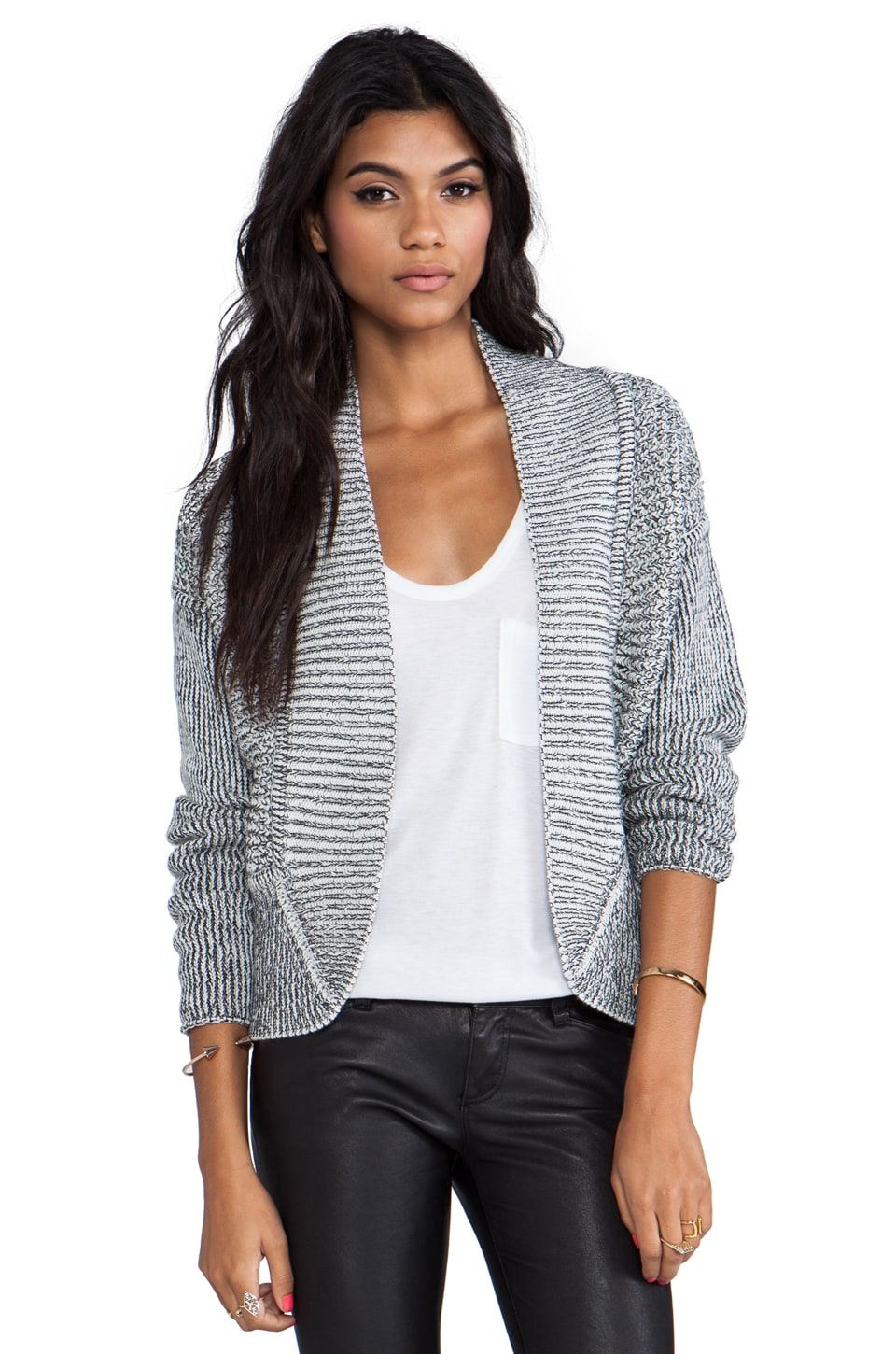 DUFFY Aerial Perspective Cardigan in Cloud/Black