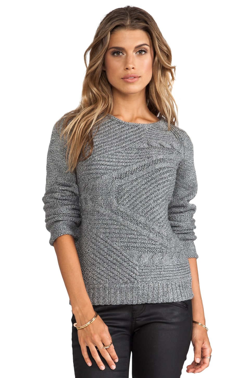 DUFFY Technical Cable Sweater in Black/White Tweed