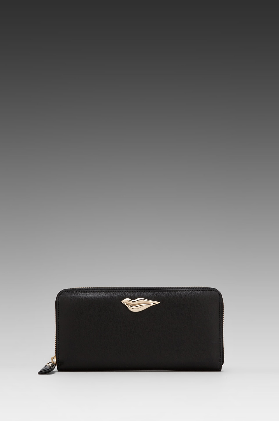 Diane von Furstenberg Lips Zip Around Leather Wallet in Black