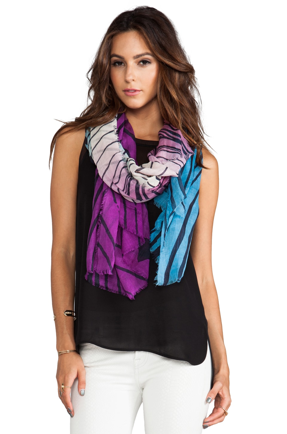 Diane von Furstenberg Hanovar Silk Wol Scarf in Purple Tiger Tree