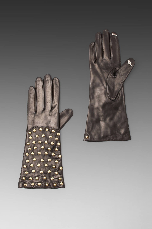 Diane von Furstenberg Gants en cuir cloutés en Noir