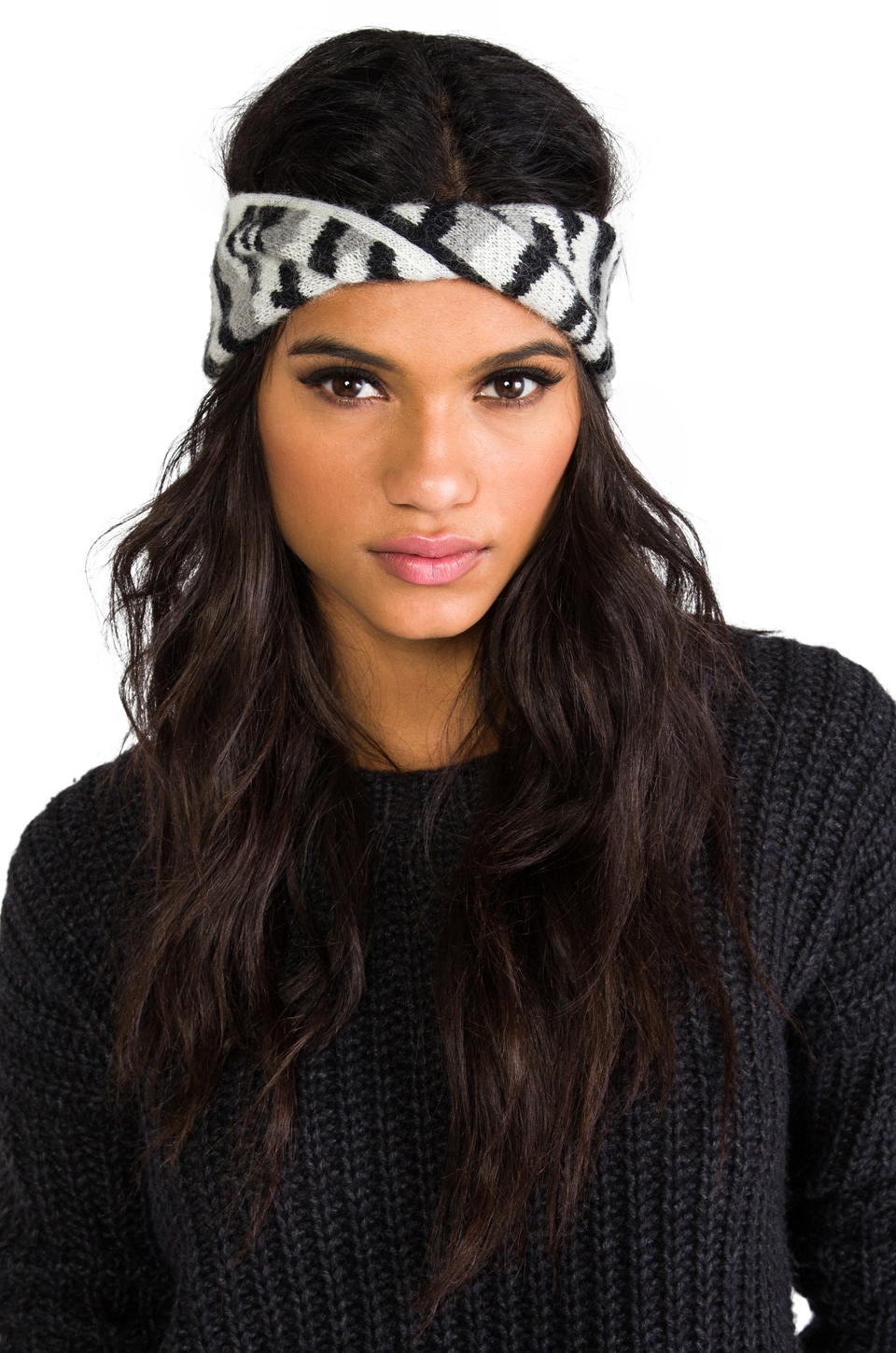 Diane von Furstenberg Dayla Animal Leather Turban in Black/White/Light Heather Grey