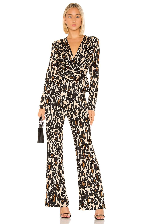 Diane von Furstenberg Melinda Jumpsuit in Leopard Cat Sand