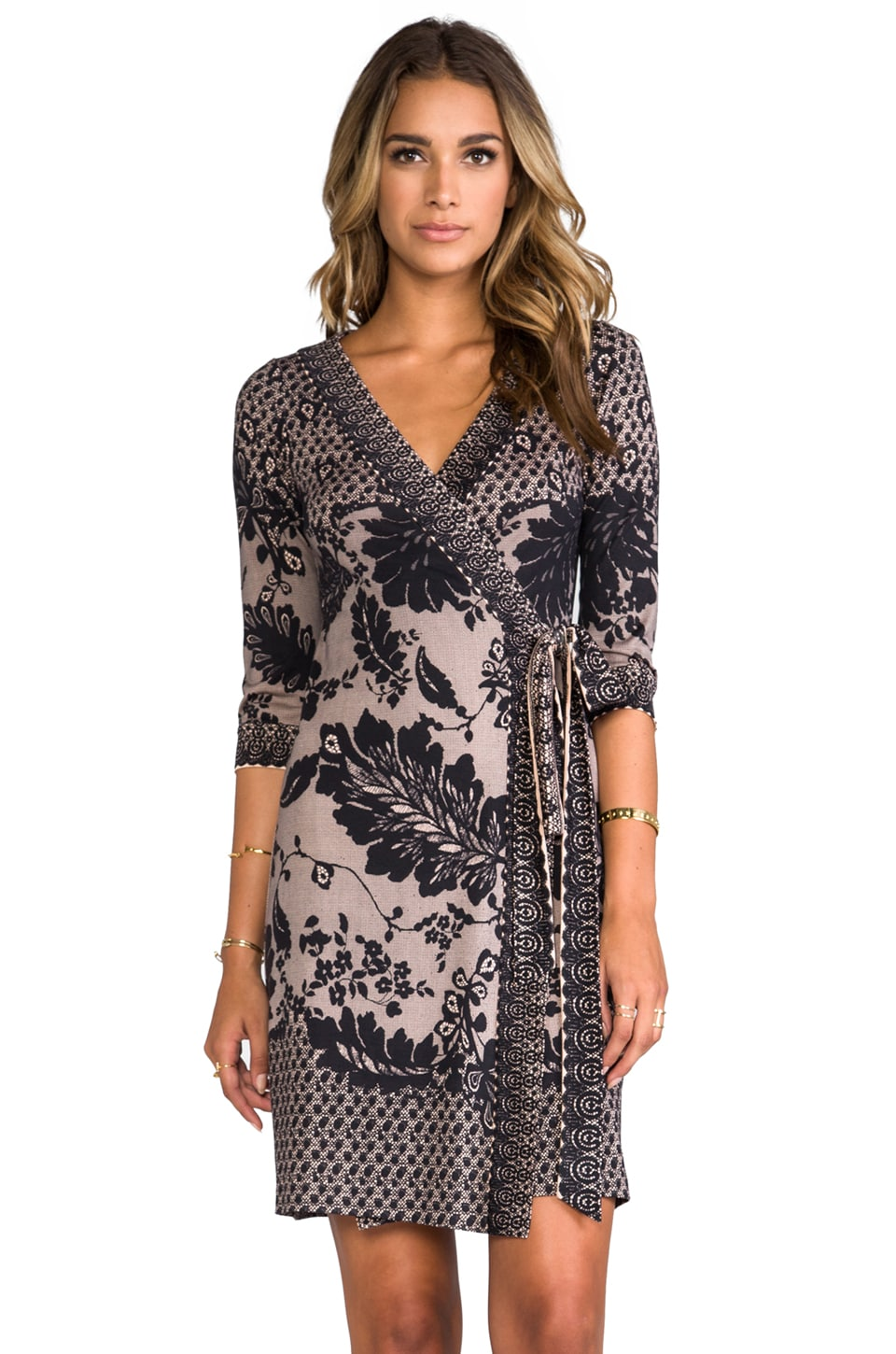 Diane von Furstenberg Inari Dress in Black Flutter Lace
