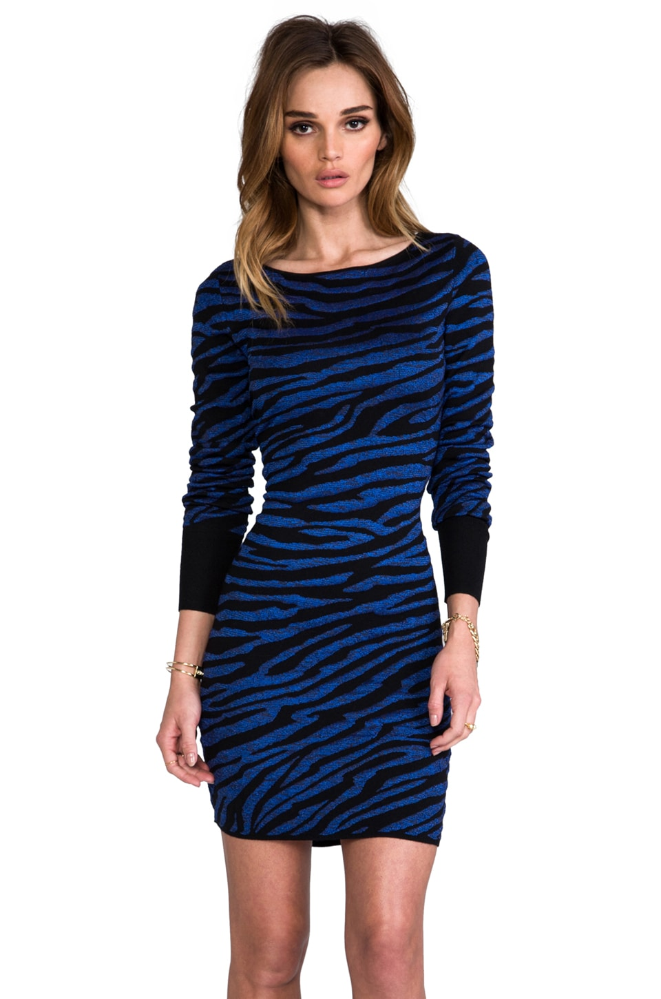 Diane von Furstenberg Evana Dress in Black/Tanzanite Blue