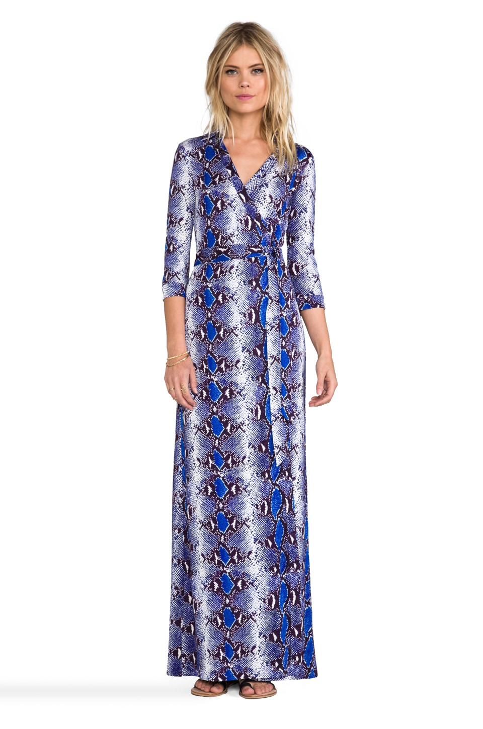 Diane von Furstenberg Abigail Dress in Python Medium Blue