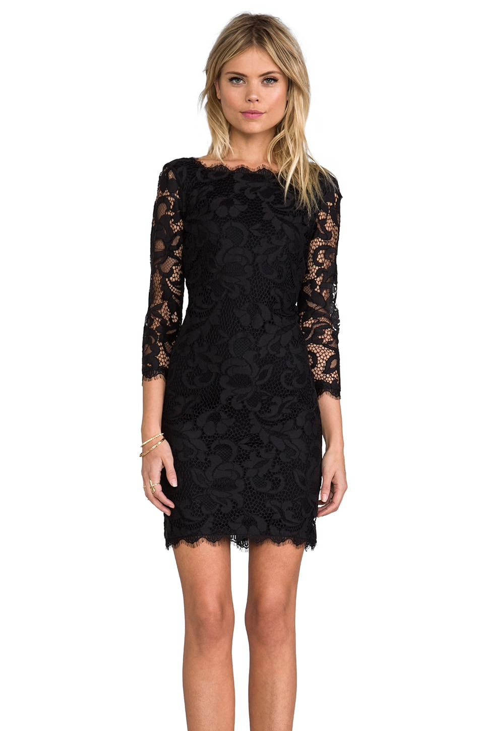 Diane von Furstenberg Zarita Scoop Dress in Black