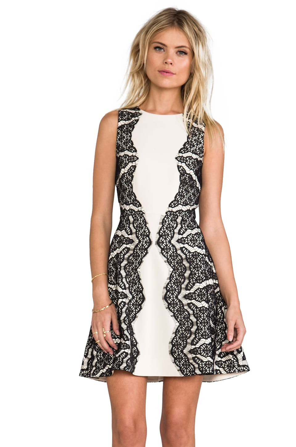 Diane von Furstenberg Daniella Dress in Ecru/Black
