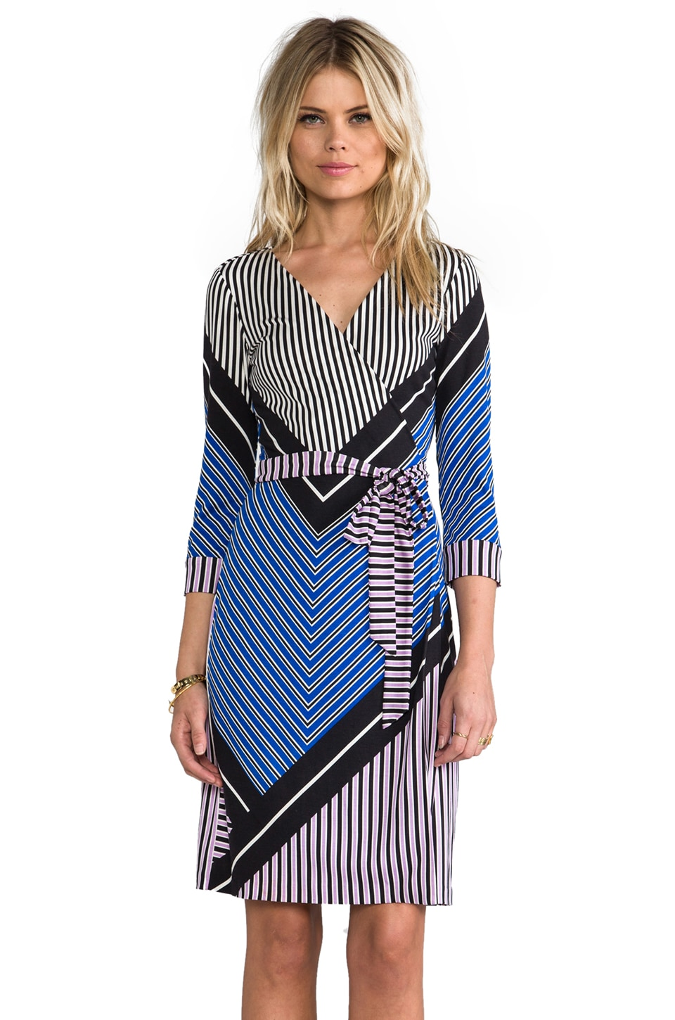 Diane von Furstenberg RUNWAY New Juilan Two Dress in Sailor Chevron/Purple Lily
