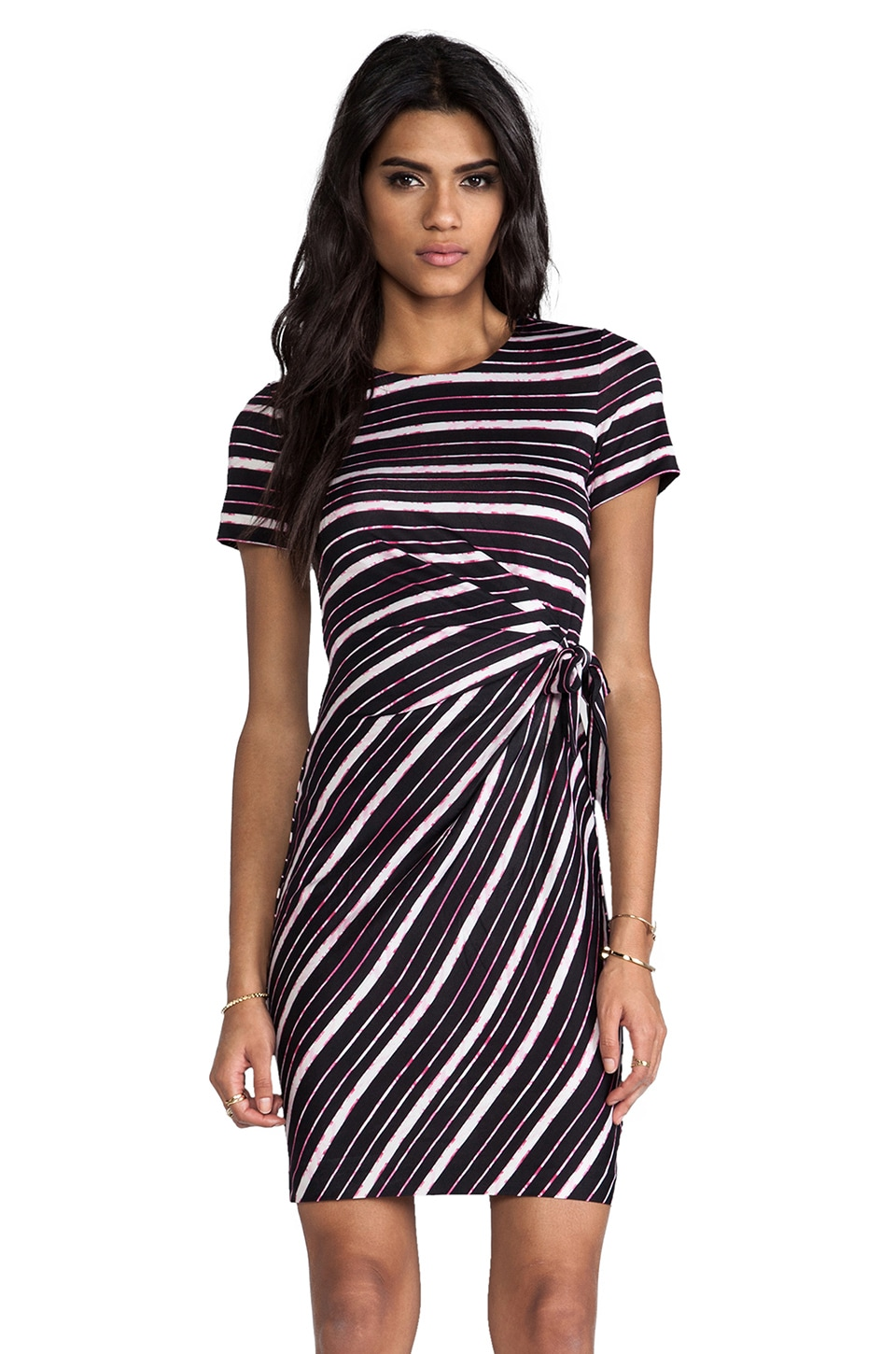 Diane von Furstenberg Brie Dress in Metallic Stripe