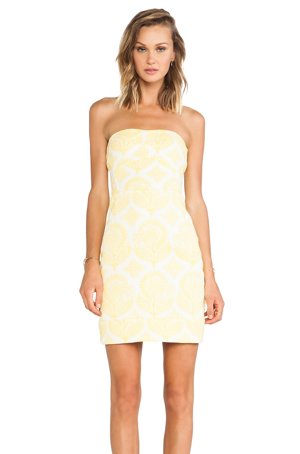 Diane von Furstenberg Garland Two Floral Stamp Dress in Canary Yellow & White