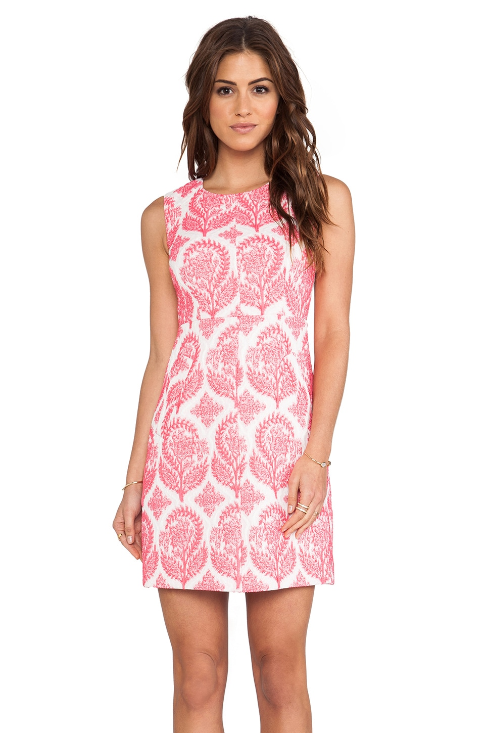 Diane von Furstenberg Carpreena Floral Stamp Dress in Tulip & White