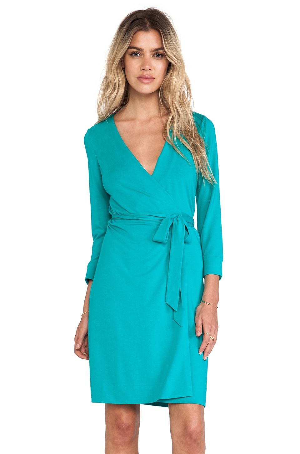 Diane von Furstenberg New Julian Wrap Mini in Zephyr Green