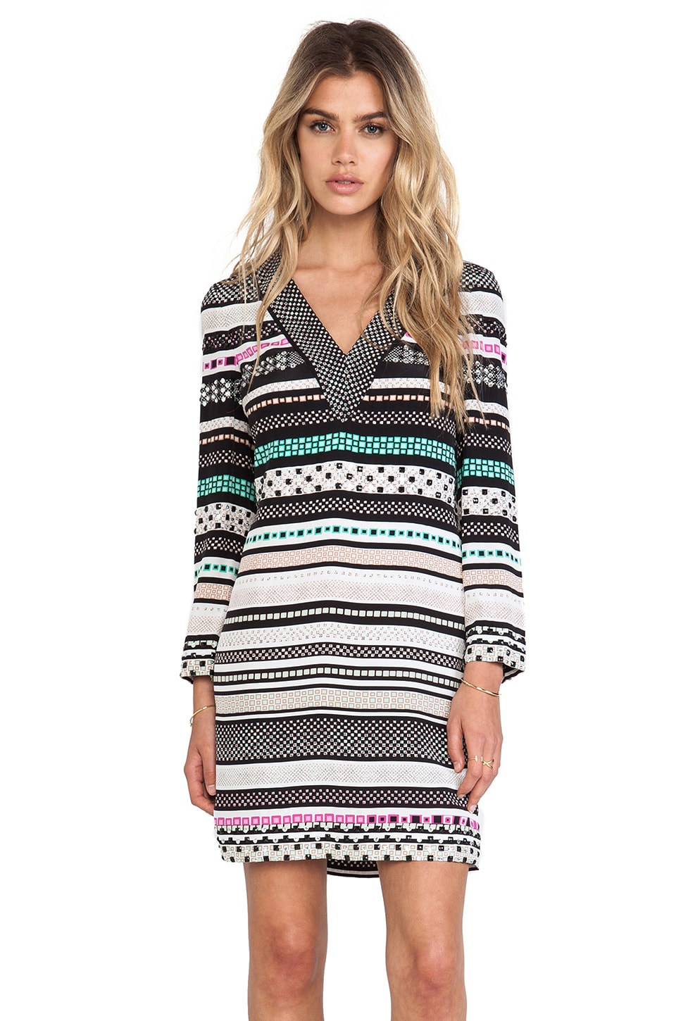 Diane von Furstenberg Ruby Striped Dress in Banded Dots