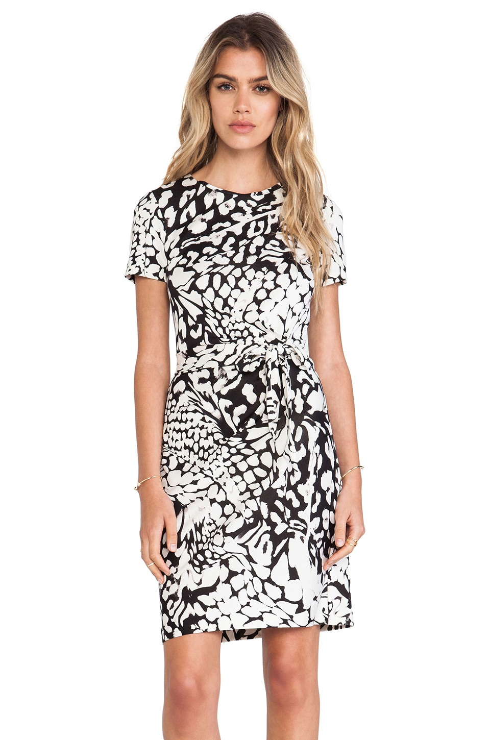 Diane von Furstenberg Zoe Wrap Dress in Feather Leopard Black