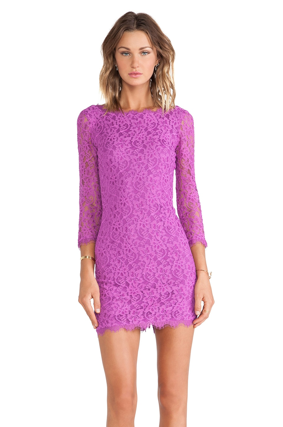 Diane von Furstenberg Zarita Lace Dress in Soft Iris
