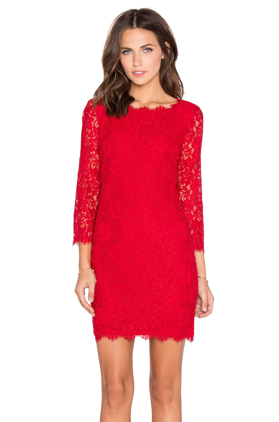 Diane von Furstenberg Zarita Lace Mini Dress in Lacquer Red | REVOLVE