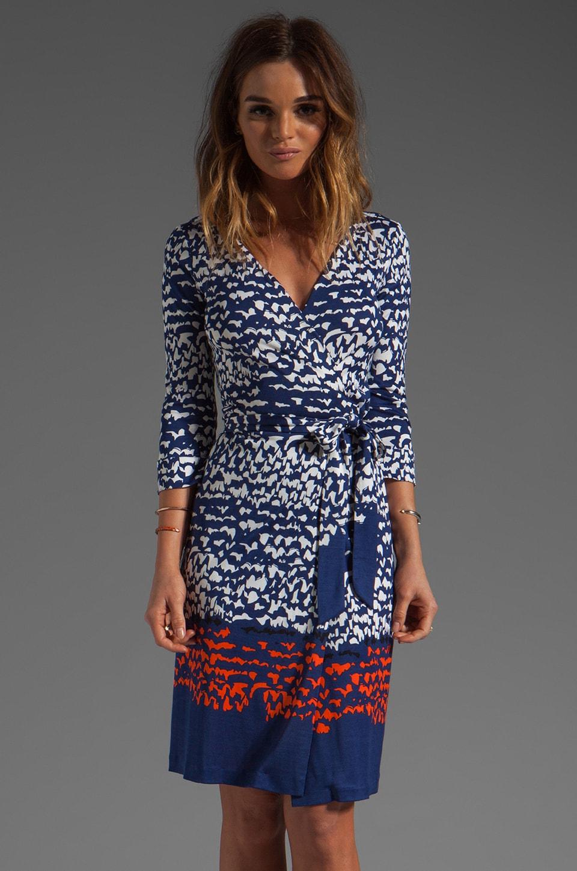 Diane von Furstenberg New Julian Two Dress in Scribble Lines Placement