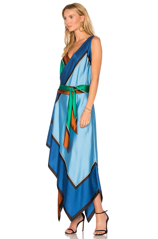 Diane Von Furstenberg Colorblock Silk Scarf Hem Midi Dress