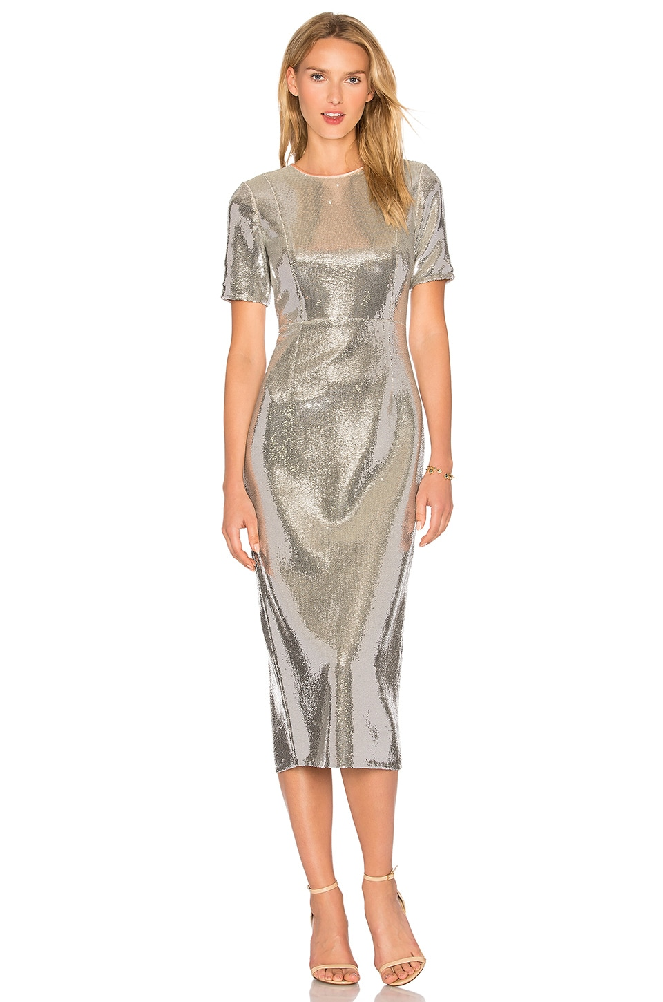 Diane von Furstenberg Sequin Dress in Silver & Nectar