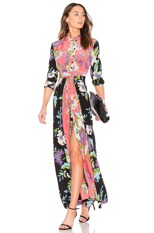 Diane von Furstenberg Floral Maxi Dress in Curzon Black, Curzon Pink & Coral