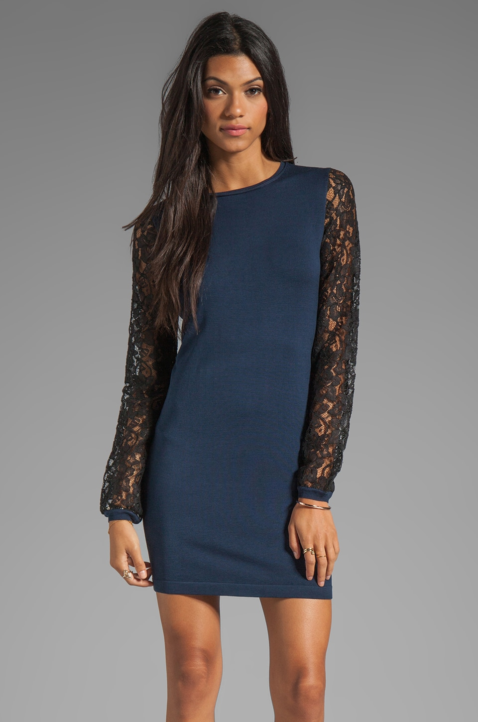 Diane von Furstenberg Kivel Lace Dress in Marine Blue/Black