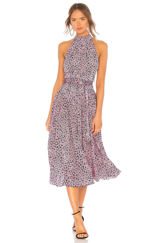 3800aa5bfbe6 Diane Von Furstenberg Halter-Neck Floral Belted Dress In Black ...