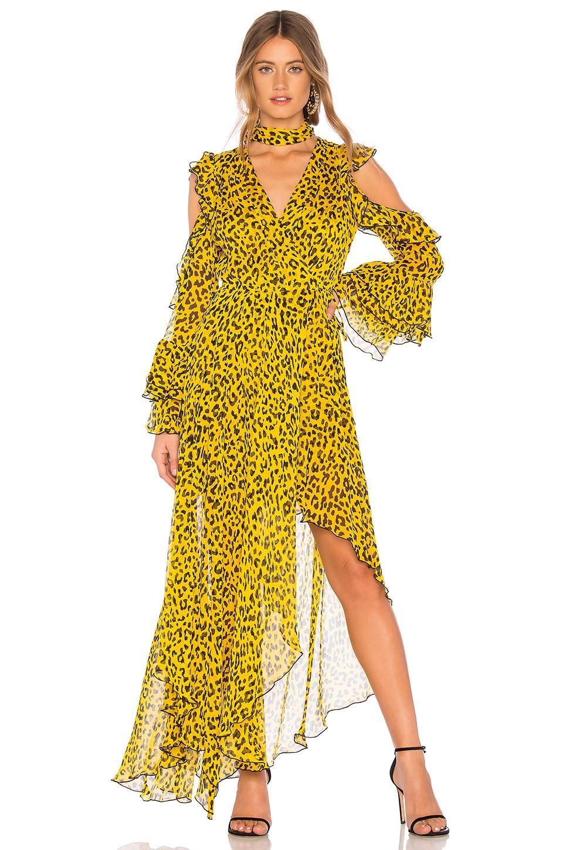 Diane von Furstenberg Ruffle High Low Maxi Dress in Heyford Goldenrod