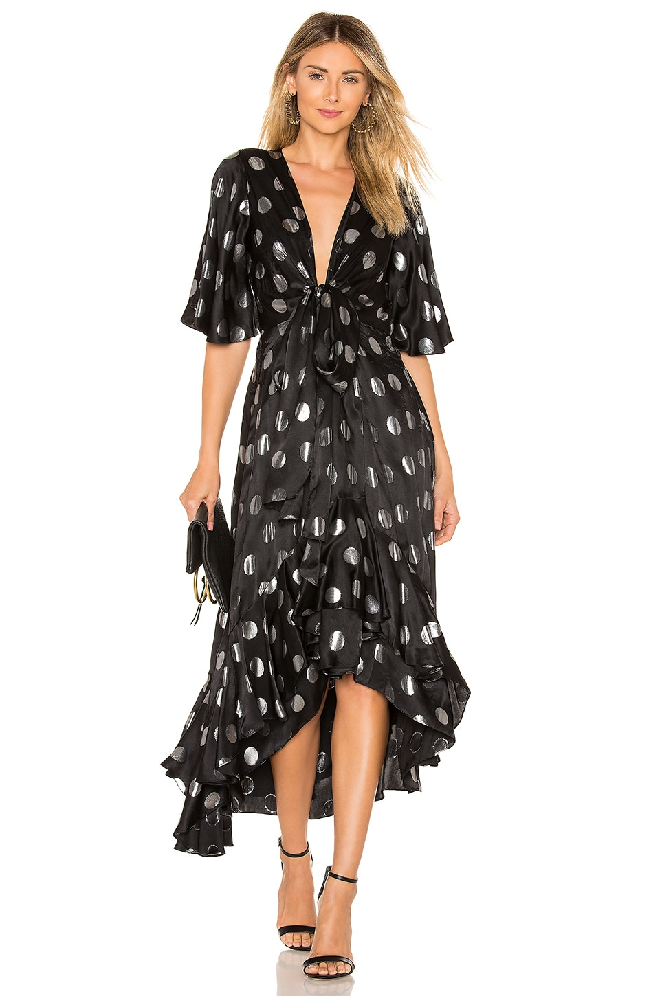 Diane von Furstenberg Sareth Midi Dress in Black and Silver
