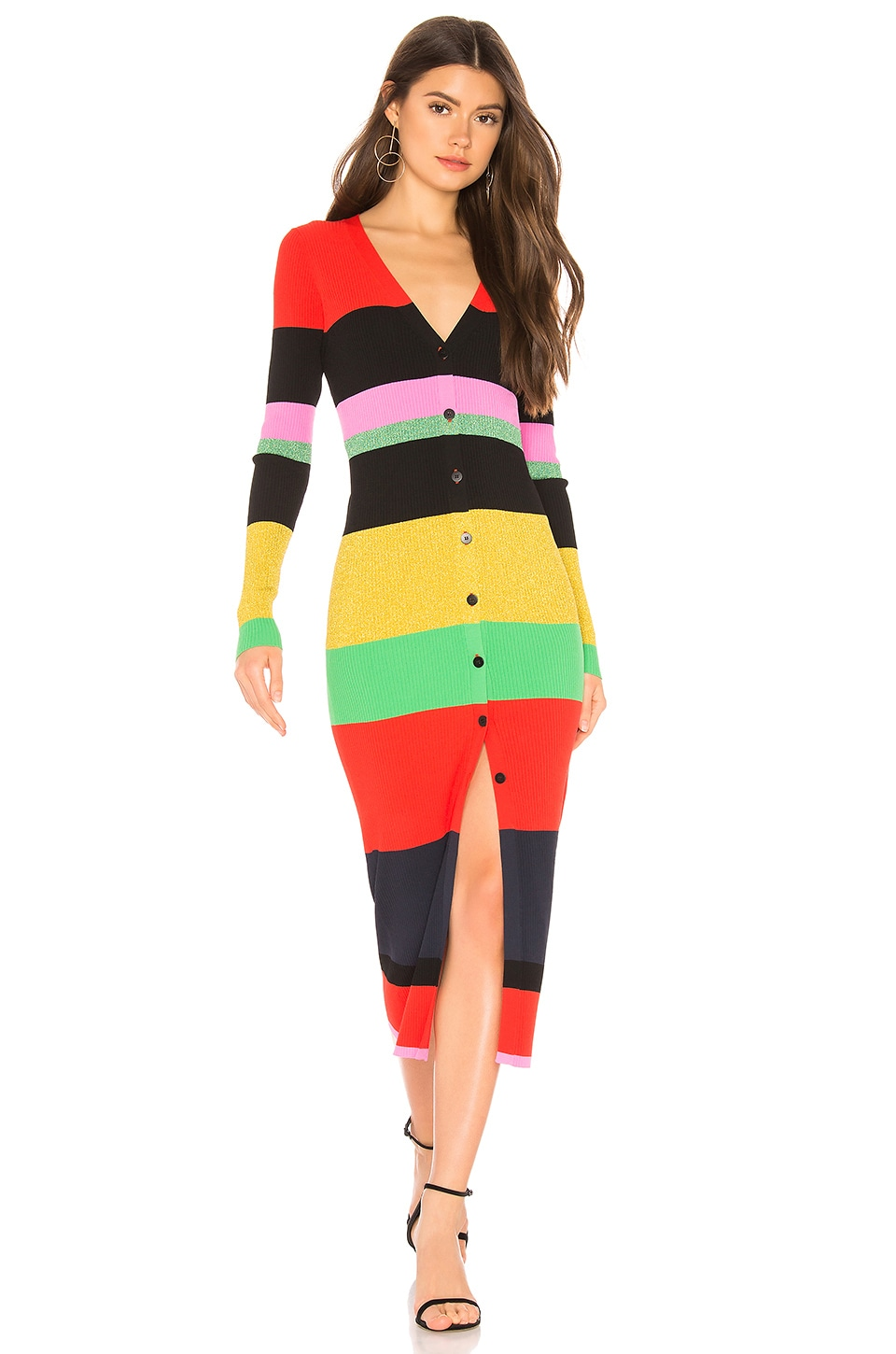 Diane von Furstenberg Maxi Sweater Dress in Candy Red Multi