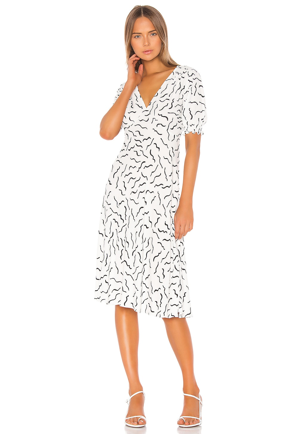 Diane von Furstenberg Jemma Dress in Abstract Lines & White