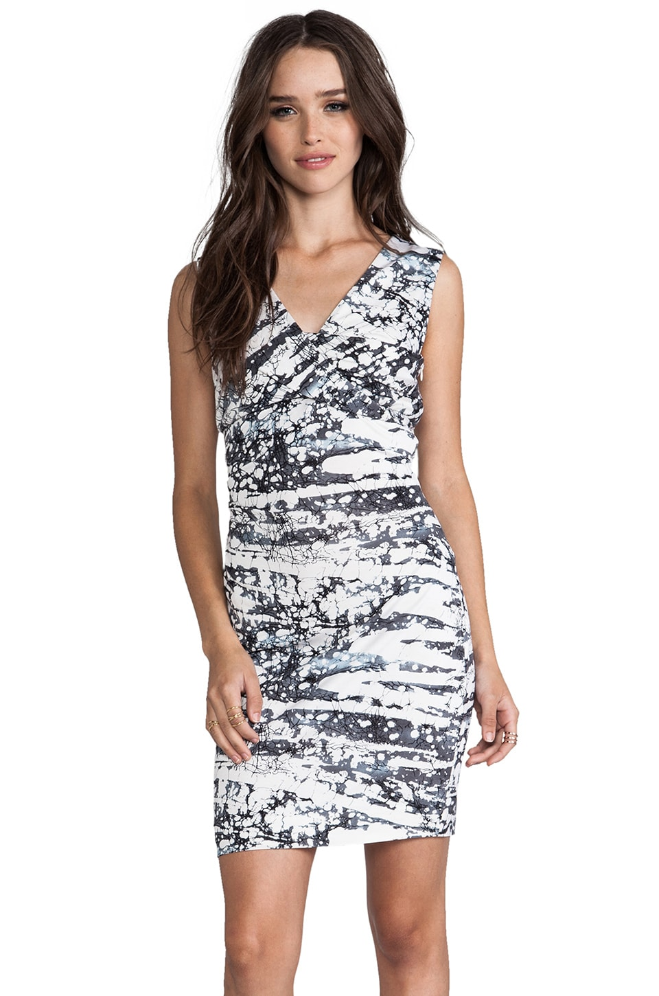 Diane von Furstenberg Parker Silk Jersey Dress in Tie Dye Stripe