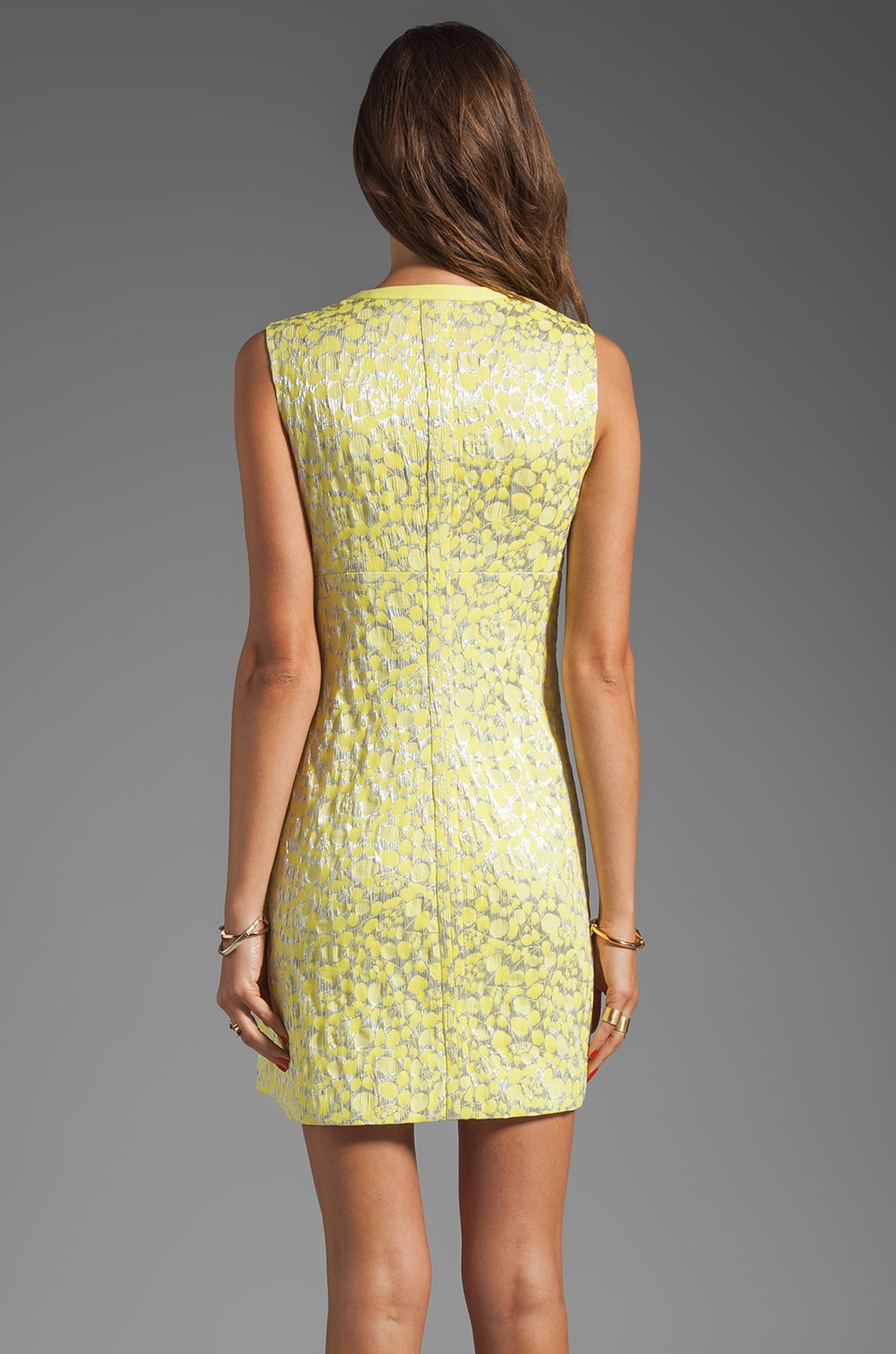 Diane von Furstenberg Sandine Balloon Metallic Jacquard Dress in Dandelion/Silver