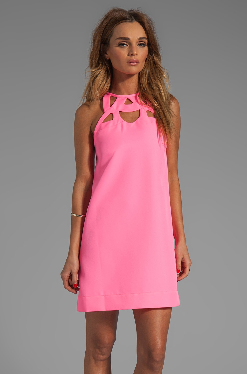 Diane von Furstenberg Machava Tech Twill Dress in Glam Pink