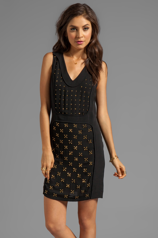 Diane von Furstenberg Twiggy Hot Fix Check Dress in Black