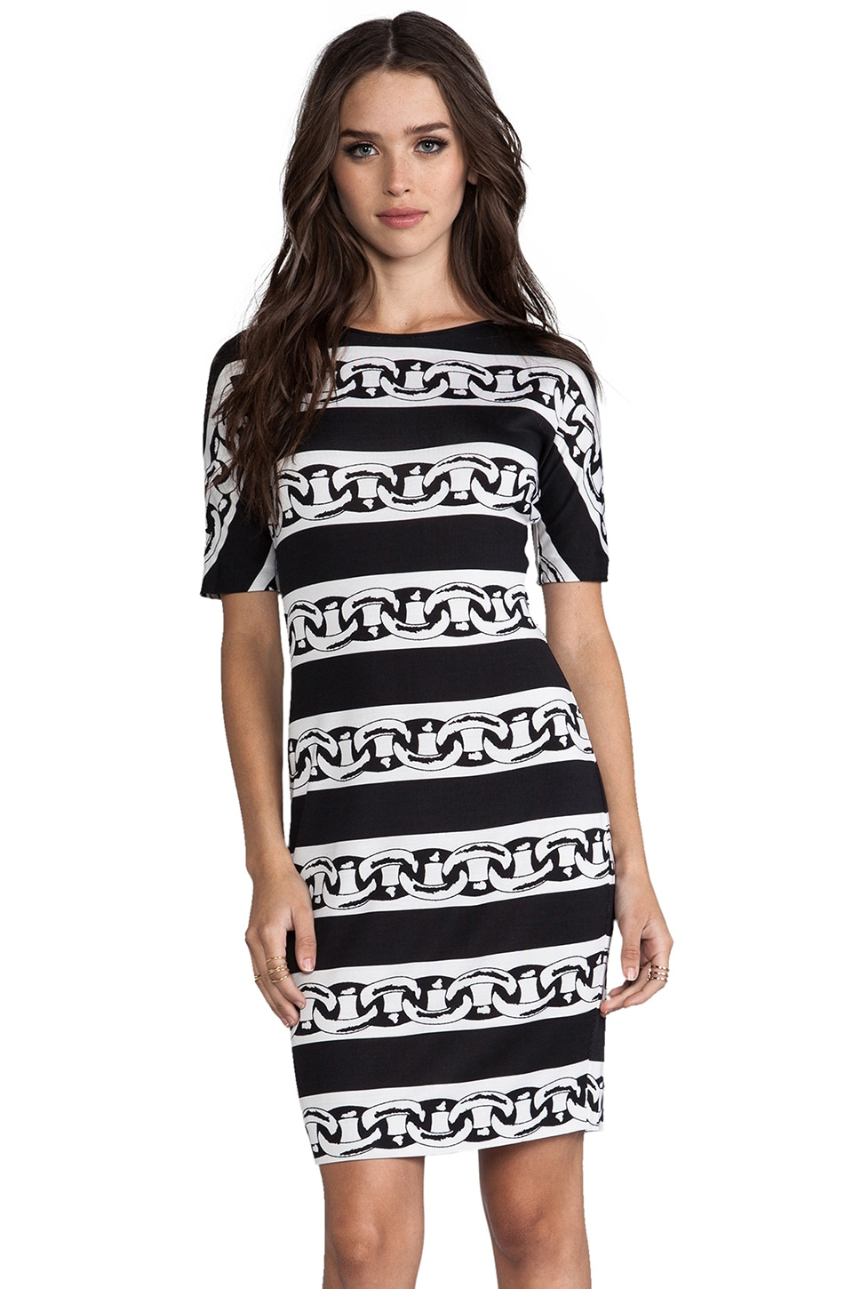 Diane von Furstenberg Brenna Dress in Chain Bands Black